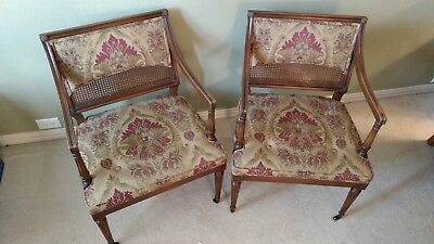 Pair of wood, cane and upholstered armchairs - American Federal style