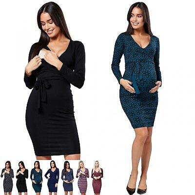Zeta Ville. Women's Maternity Nursing Bodycon Dress Wrap Front Tie.596p