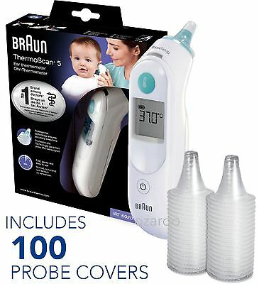 NEW Braun ThermoScan 5 6020 Baby Digital Ear Thermometer with 100 Probe Covers