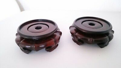 Chinese Hand Carved Wooden Pair of Vase Stands Lotus Shaped