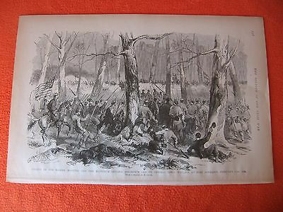 1884 Civil War Print - Charge of 11th Indiana & 8th Missouri, Ft. Donelson 1862