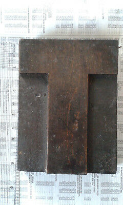 "5"" high capital letter ""T"" sans-serif font wooden type printing block no 6"