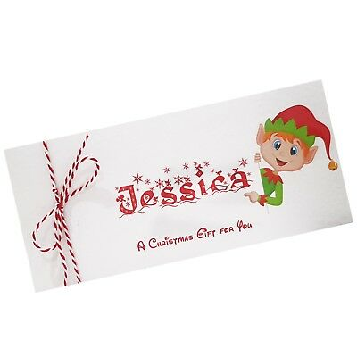 Christmas Money Wallet Gift Voucher Personalised complete with Envelope Elf