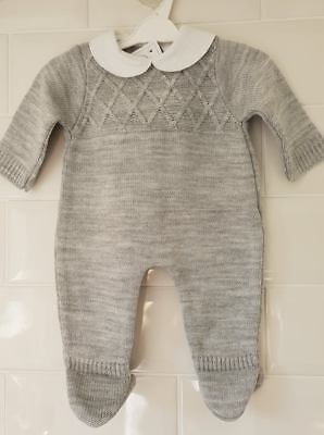 Spanish Style Baby Boy Grey Knitted All In One Romper / Outfit.