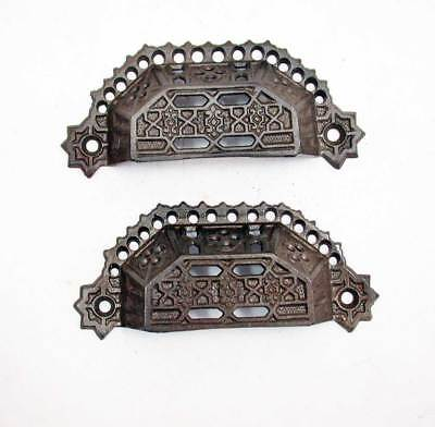 Two Matching Victorian Era Antique Bin Pulls or Drawer Pulls in Ornate Cast Iron