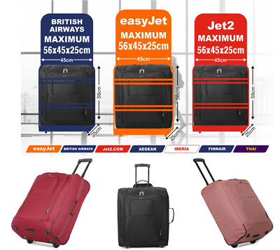 easyJet Jet2 BA Maximum 56x45x25 Lightweight Hand Cabin Luggage Trolley Bag, 60L