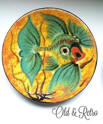 Vintage Puigdemont Fish Wall Plaque ~ ~ Spanish Art Pottery / Plate signed