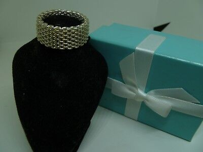 Genuine Tiffany & Co. Sterling Silver Somerset Flexible Mesh Band Ring~Size 11.5