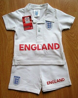 Kids Official England Football Club White Shirt And Shorts. Age 6-9 Months