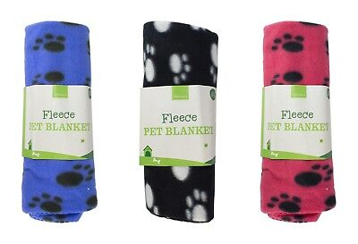 FLEECE PET BLANKET - Soft Cosy Warm Cat/Dog/Puppy Paw-print Bed - 120cm x 60cm