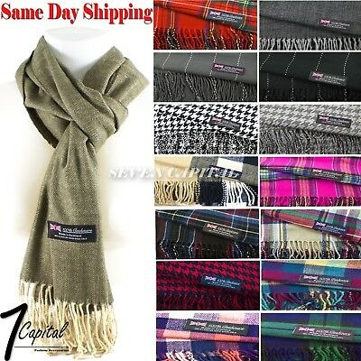 Winter Warm Scotland Made 100% Cashmere Soft  Plaid Scarf Warp Wool High Quality