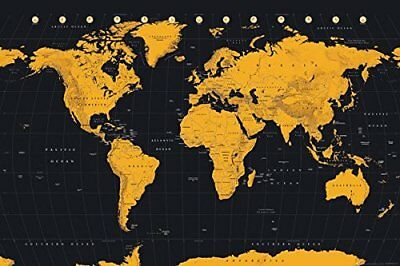 World Map Gold Educational Maps Maxi Poster Print 61x91.5cm | 24x36 inches