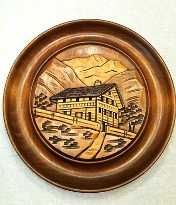 """Round Wooden Wall Decor Plate 10"""" Cabin Hunting Lodge Mountain Rustic Handcarved"""