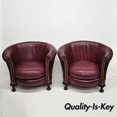 Pair Old Hickory Tannery Burgundy Leather Ball & Claw Round Club Lounge Chairs