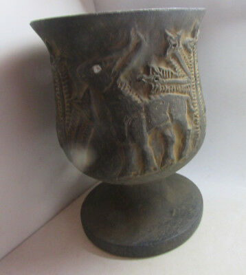 Ancient Western Asiatic Stone Carved Chalice Mythic Beast Decorations Very Rare