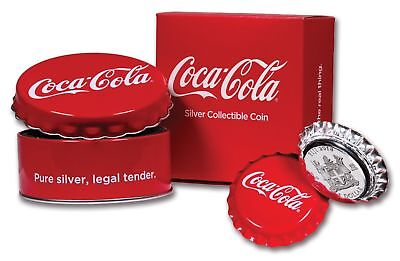 2018 Fiji Coca-Cola Bottle Cap Shaped $1 One Dollar Silver Proof Coin Box Coa