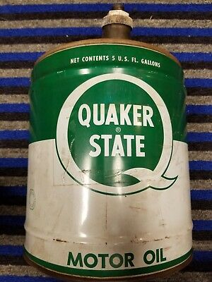 Vintage QUAKER STATE 5 GALLON MOTOR OIL CAN oil city PA Crude 77