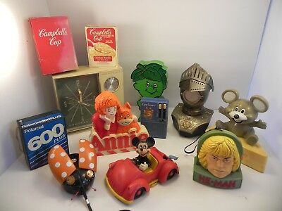 Vintage Large Lot of 10 Novelty Transistor Radio Radios Annie Mickey Mouse More