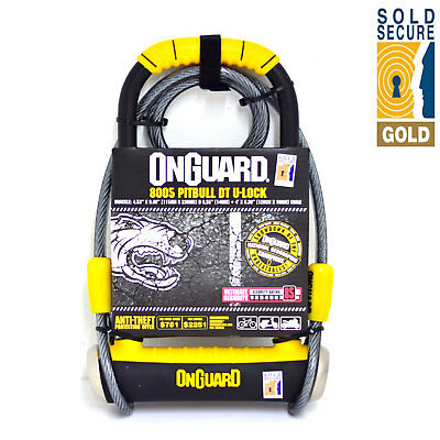Onguard Pitbull 8005 Motorcycle Scooter Lock with Cable Gold Sold Secure
