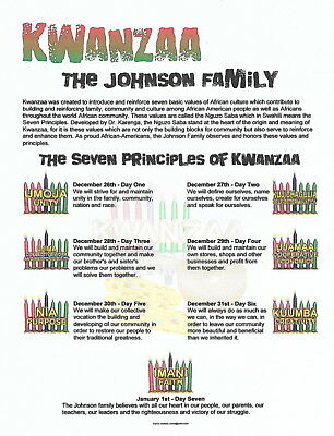 Principles Of Kwanzaa - Personalized Certificate With Your Family Name - 2018