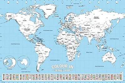 World Map Colour In Educational Maps Maxi Poster Print 61x91.5cm | 24x36 inches