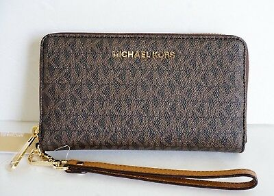 NEW Michael Kors Jet Set Travel Large Phone Case Wristlet SM MK Signature Brown