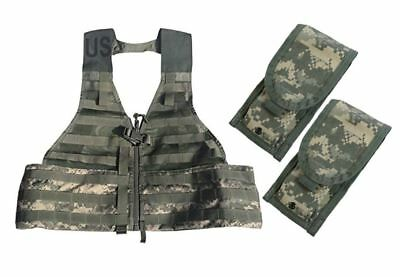 NEW MOLLE ACU Fighting Load Carrier FLC VEST w/ 2 Double Mag Pouches US Military