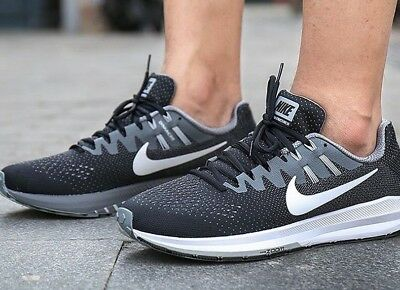1816047915b19 Mens Nike Zoom Structure 20 Black White Grey Athletic Running Training Shoes