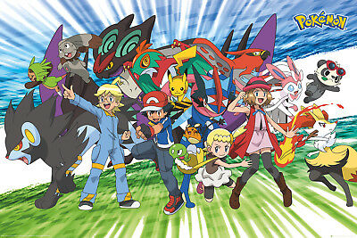 Pokemon Traveling Party Gaming Anime Maxi Poster Print 61x91.5cm | 24x36 inches