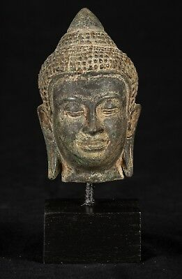 19th Century Antique Khmer Style Bronze Buddha Head Statue - 16cm/6""