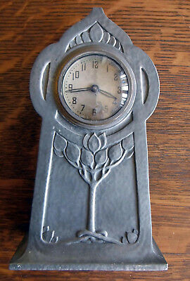 ⏰ Antique Arts & Crafts Hammered 1900's Solid Bronze Pewter Jennings Bros Clock