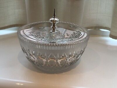 Beautiful Antique Victorian Silver Plated And Glass Butter Dish Circa 1876