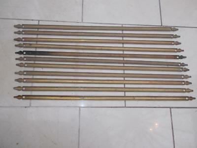 Set 11 Antique Brass Stair Rods Trefoil Ends 80Cm Long Need A Polish
