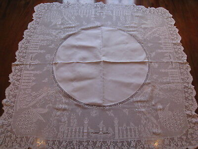 Vintage 30s Mary Card Irish linen hand crochet lace tablecloth The Garden unused