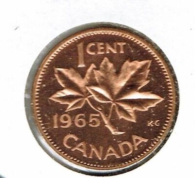 1965 Canadian Proof Like One Cent Elizabeth II Coin!