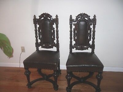 pair jacobean style chairs