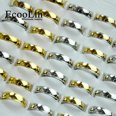 50pcs Stainless Steel Rings 3 Colors Mixed For Women Men New Jewelry Free Post