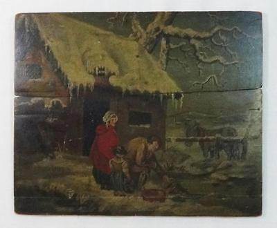 Stunning Antique Folk Art Painting on Wood Panel Signed & Dated 1815