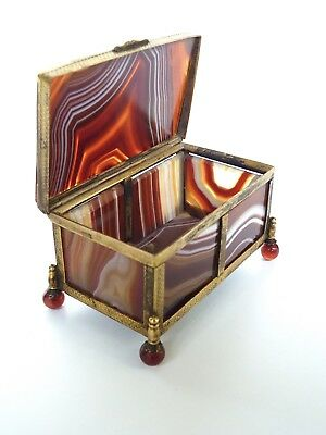 Antique Banded Agate Panel & Gilded Brass Box c19th