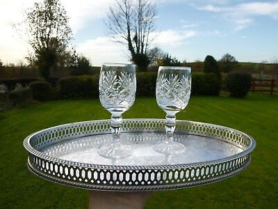 """Vintage Sheffield Silver Plate 12.5"""" Oval Drinks Cocktails Serving Tray"""