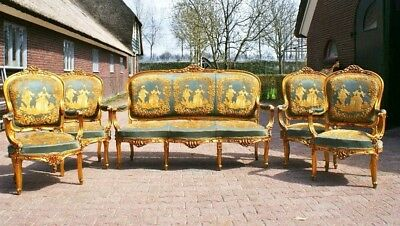 Rare Antique French Victorian Rococo Green Gold 5PC Sofa Settee and Chair Set