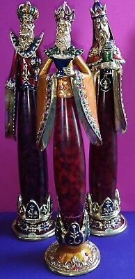 "13"" Tall Ornate 3 Wismen Gold Color With Jewels"