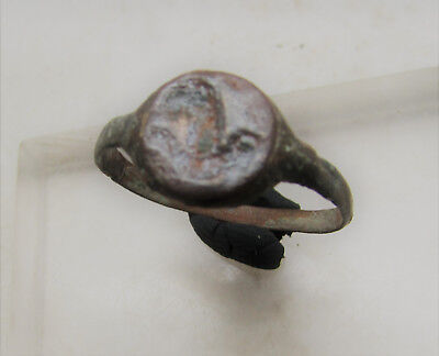 Ancient Roman Bronze Legionary Ring With Lion Depiction On Bezel