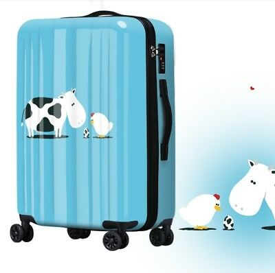 D135 Lock Universal Wheel Cartoon Cow Travel Suitcase Luggage 24 Inches W