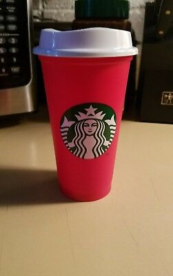 Starbucks 2018 Red Reusable 16oz Cup 50cents off drink discount NEW