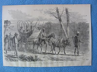 "1884 Civil War Print - ""Contrabands Coming Into the Federal Camp in Virginia"""