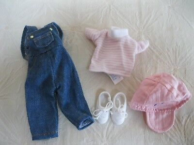 """Madeline 8"""" Doll Outfit Blue Denim Overalls Striped T-Shirt Baseball Cap Shoes"""