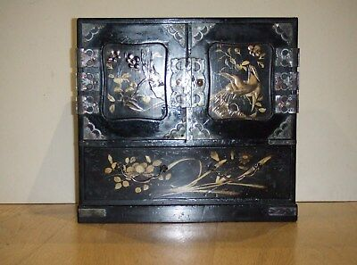 """Antique Japanese Black Lacquered Table Cabinet Box 11 1/2"""" Inches 7 Drawers Wood"""