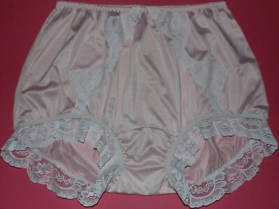 """Vintage silky pink frilly Panties Knickers, double nylon gusset. XL waist 26-48"""""""