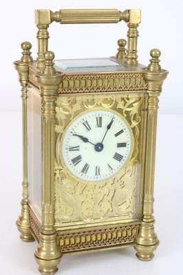 BEAUTIFUL ANTIQUE CARRIAGE CLOCK by R&C PARIS, stunning gilt masked dial WORKING